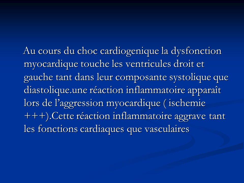 Au cours du choc cardiogenique la dysfonction myocardique touche les ventricules droit et gauche tant dans leur composante systolique que diastolique.une réaction inflammatoire apparaît lors de l'aggression myocardique ( ischemie +++).Cette réaction inflammatoire aggrave tant les fonctions cardiaques que vasculaires