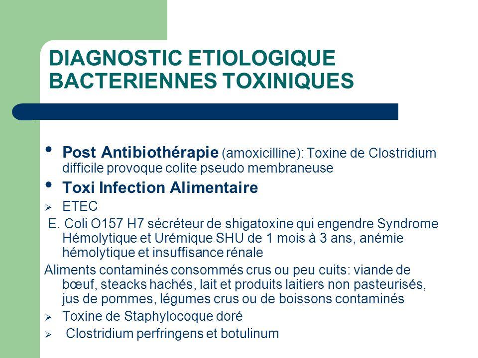 DIAGNOSTIC ETIOLOGIQUE BACTERIENNES TOXINIQUES