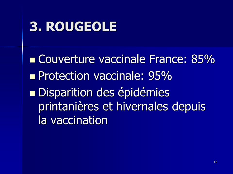 3. ROUGEOLE Couverture vaccinale France: 85% Protection vaccinale: 95%