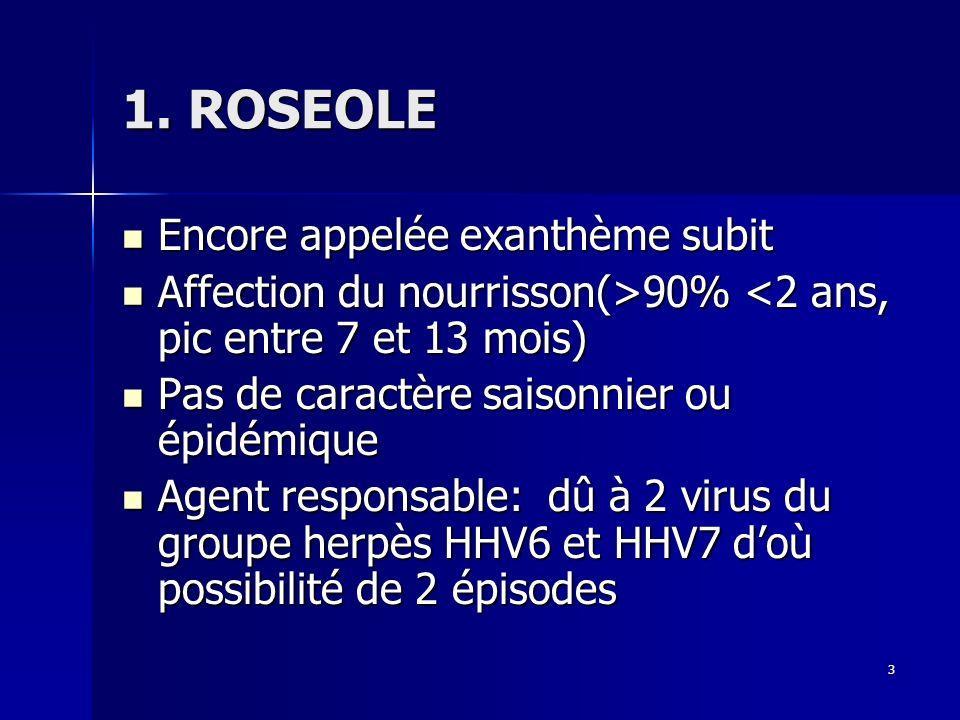 1. ROSEOLE Encore appelée exanthème subit