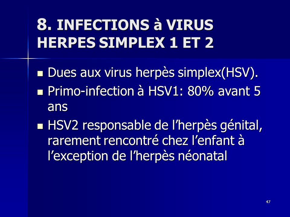 8. INFECTIONS à VIRUS HERPES SIMPLEX 1 ET 2