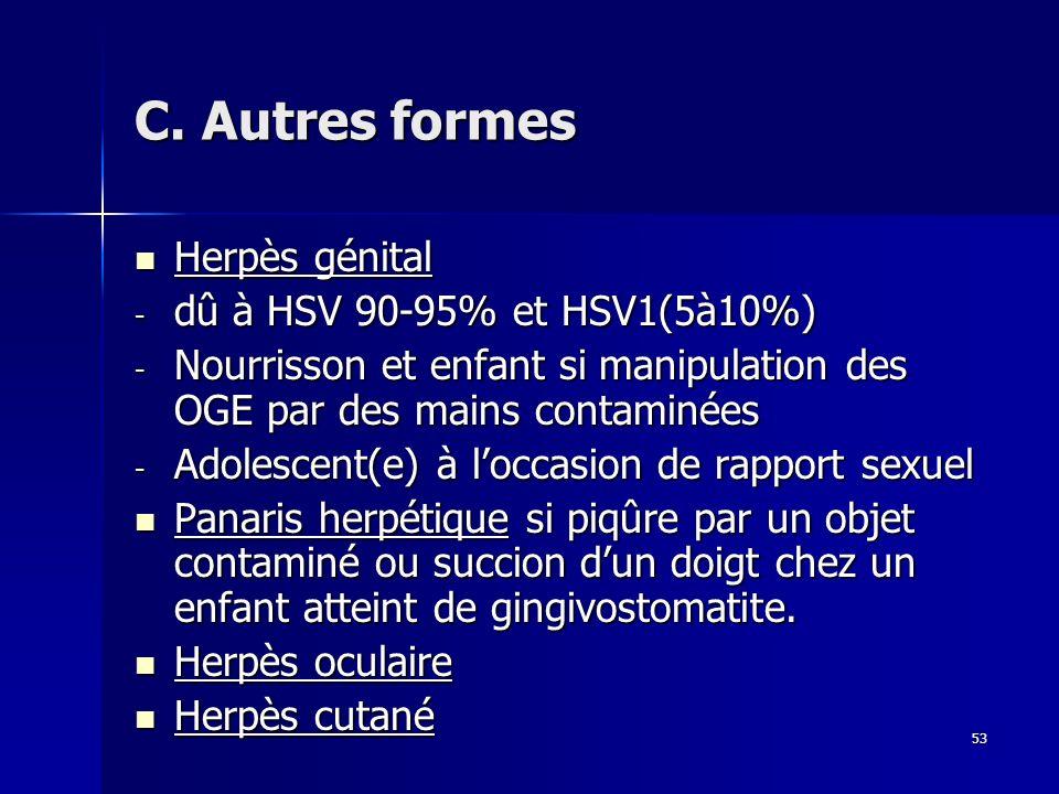 C. Autres formes Herpès génital dû à HSV 90-95% et HSV1(5à10%)