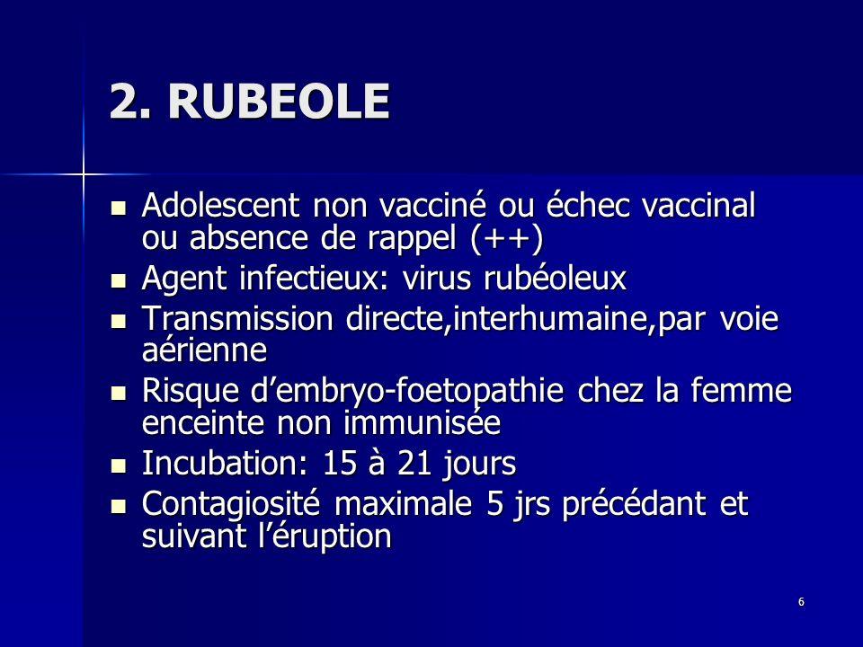 2. RUBEOLE Adolescent non vacciné ou échec vaccinal ou absence de rappel (++) Agent infectieux: virus rubéoleux.