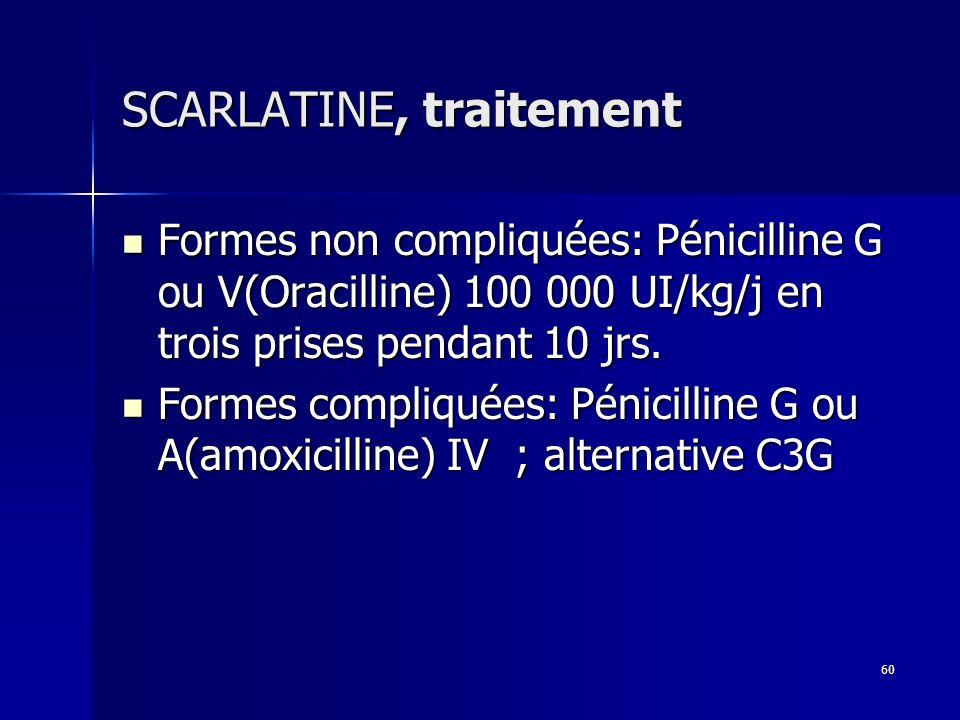 SCARLATINE, traitement