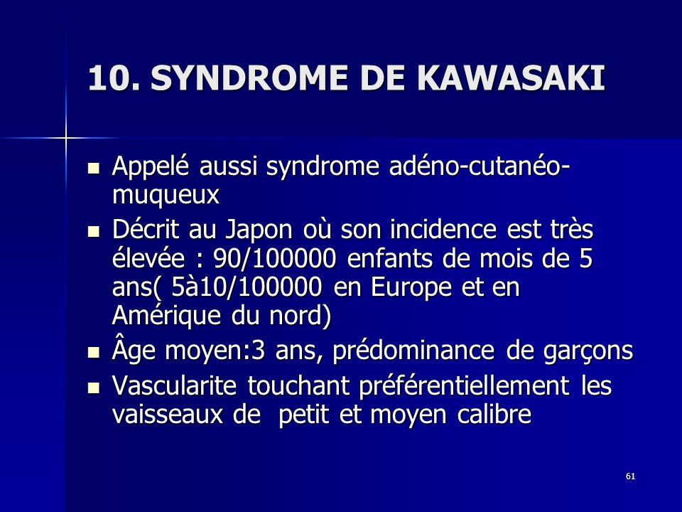 10. SYNDROME DE KAWASAKI Appelé aussi syndrome adéno-cutanéo-muqueux
