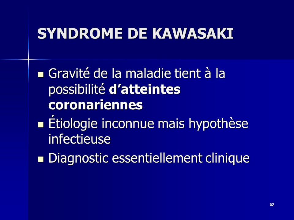 SYNDROME DE KAWASAKIGravité de la maladie tient à la possibilité d'atteintes coronariennes. Étiologie inconnue mais hypothèse infectieuse.