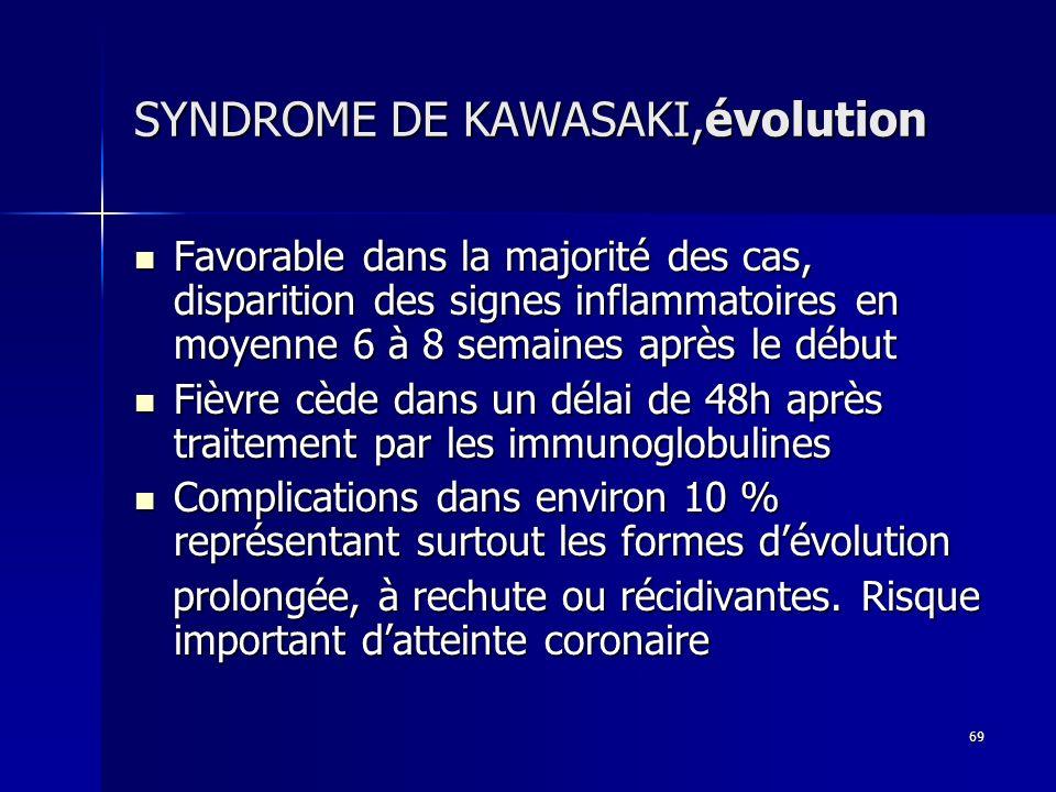 SYNDROME DE KAWASAKI,évolution