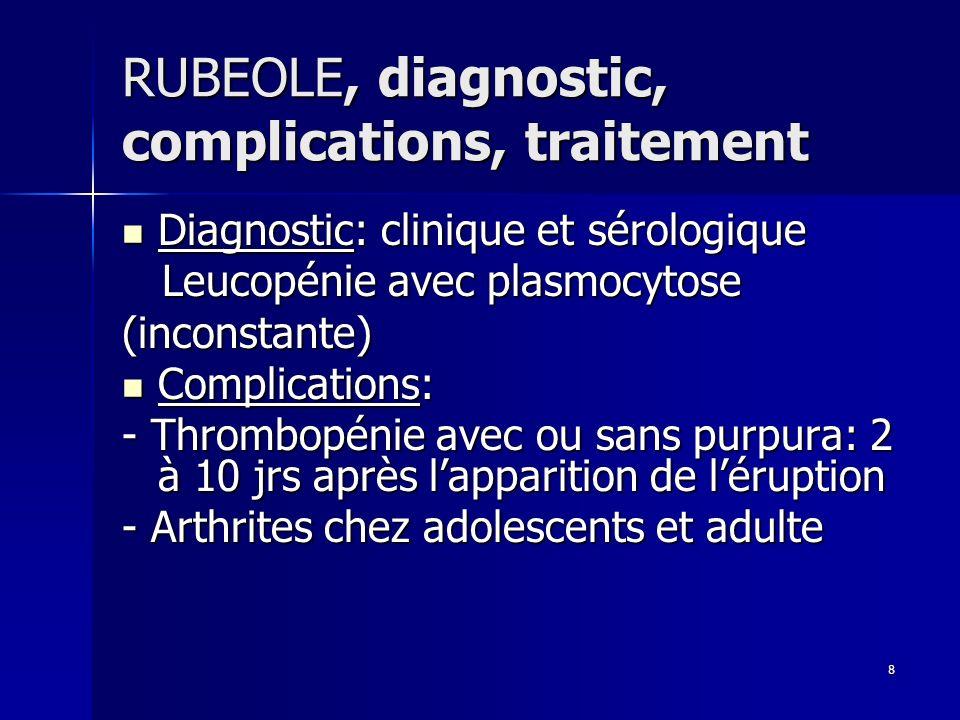 RUBEOLE, diagnostic, complications, traitement