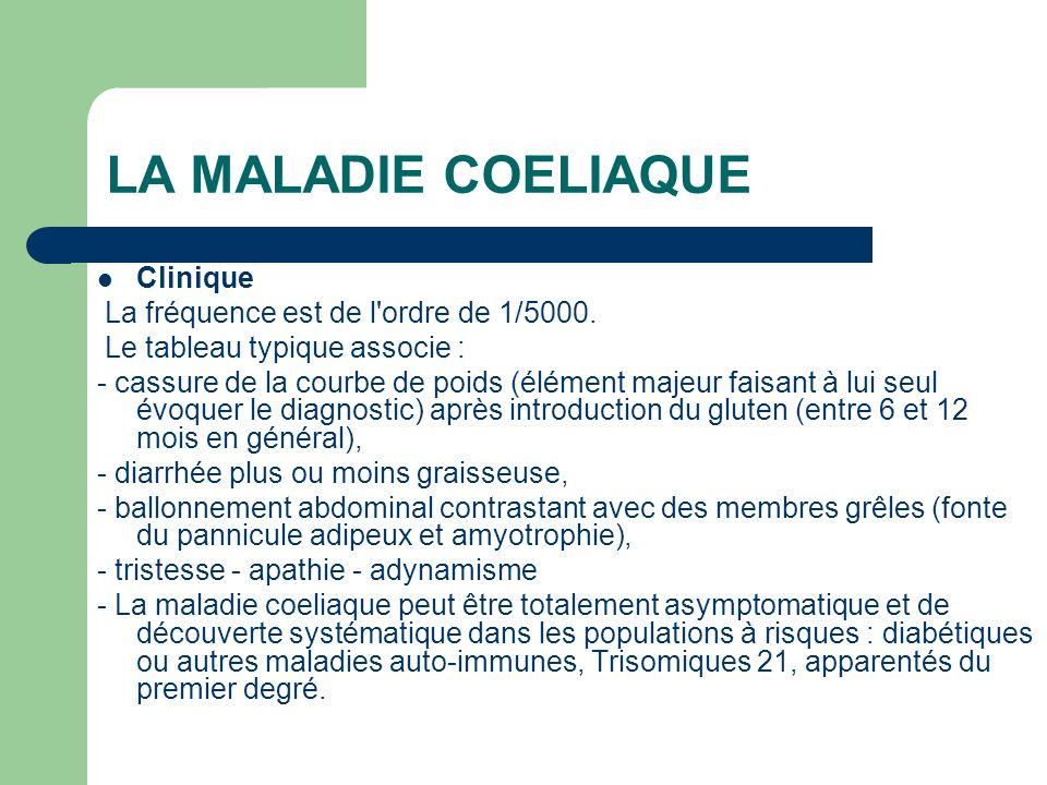 LA MALADIE COELIAQUE Clinique La fréquence est de l ordre de 1/5000.