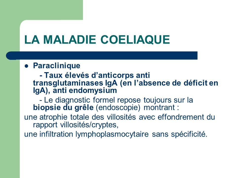 LA MALADIE COELIAQUE Paraclinique