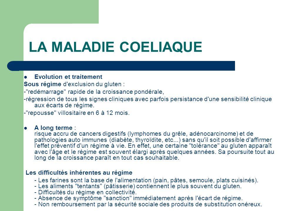 LA MALADIE COELIAQUE Evolution et traitement
