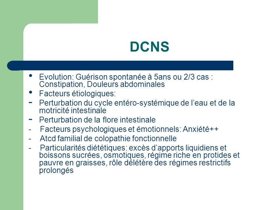 DCNSEvolution: Guérison spontanée à 5ans ou 2/3 cas : Constipation, Douleurs abdominales. Facteurs étiologiques: