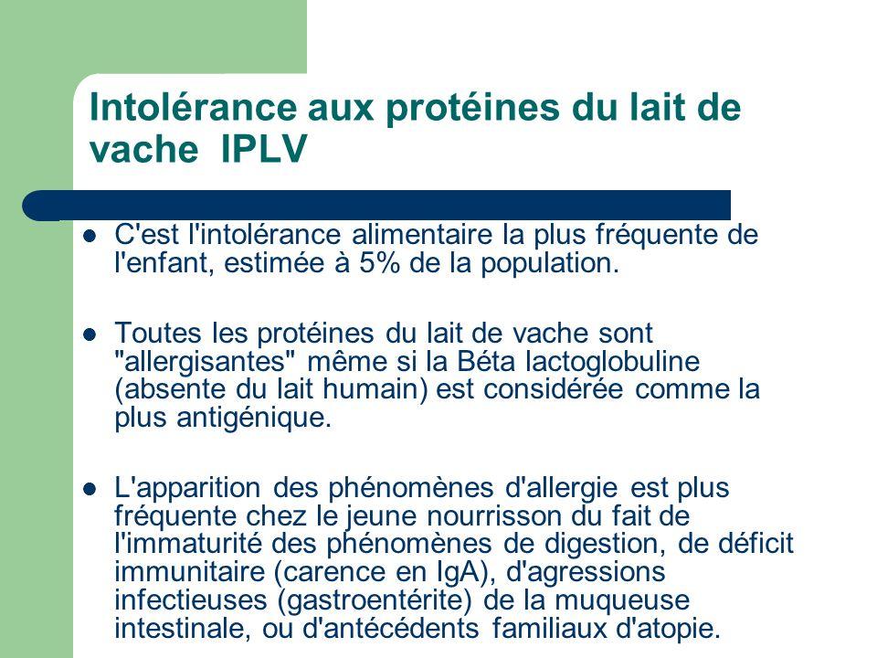 Intolérance aux protéines du lait de vache IPLV