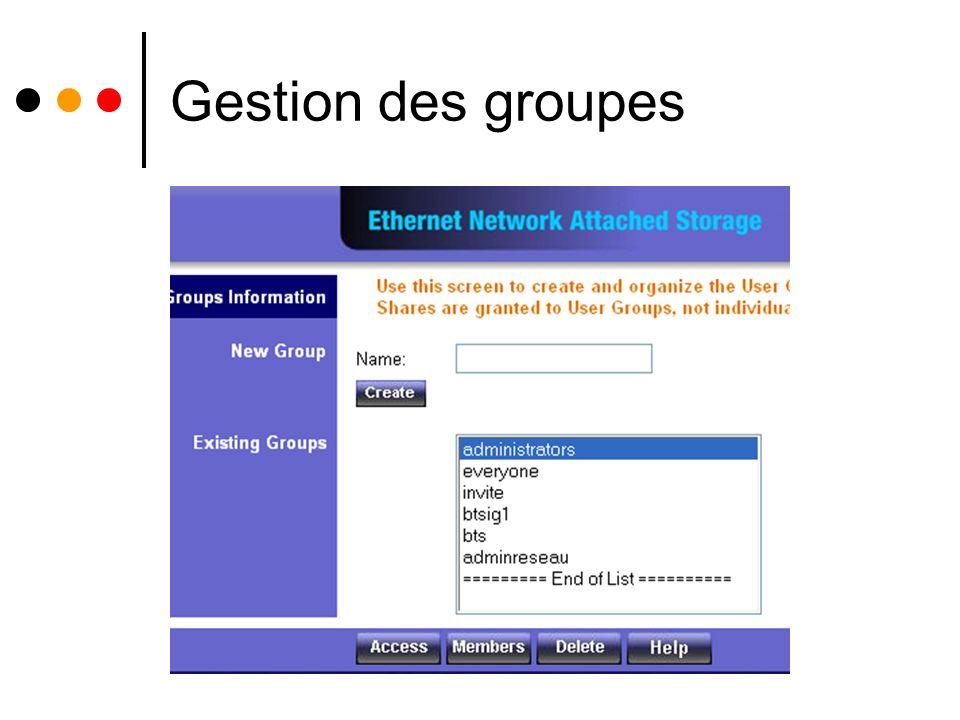 Gestion des groupes .