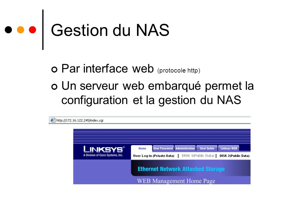 Gestion du NAS Par interface web (protocole http)