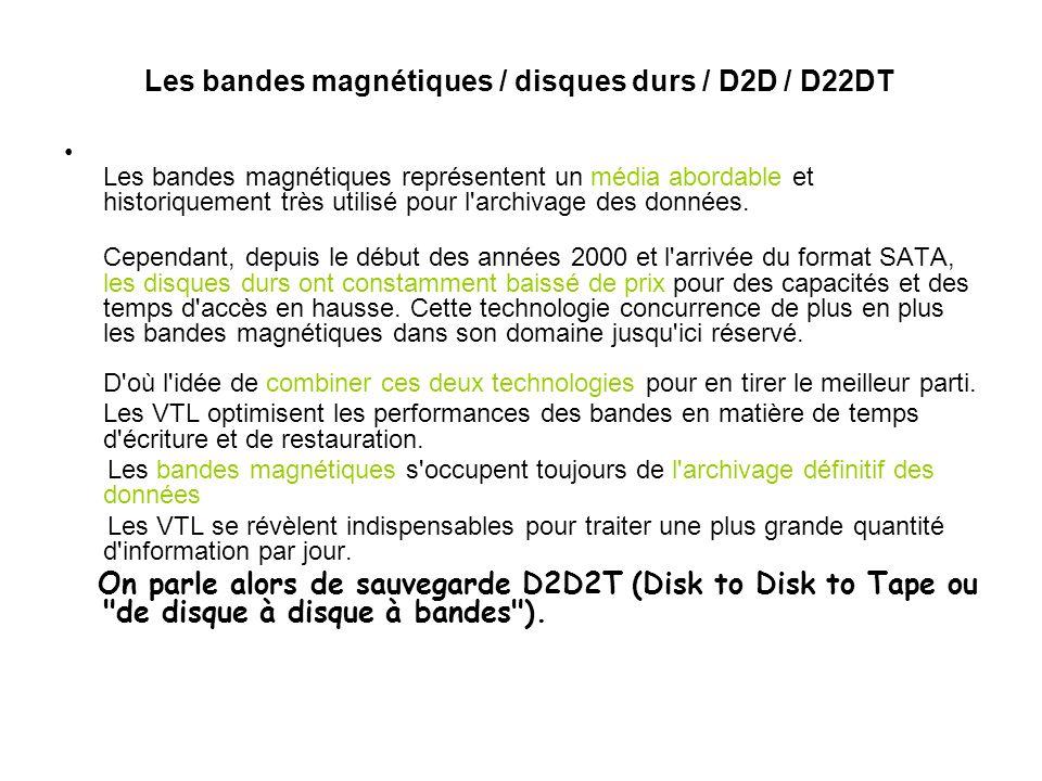 Les bandes magnétiques / disques durs / D2D / D22DT