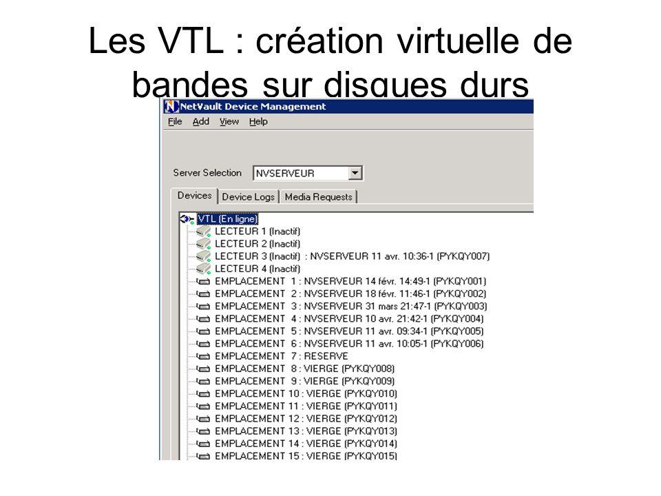 Les VTL : création virtuelle de bandes sur disques durs