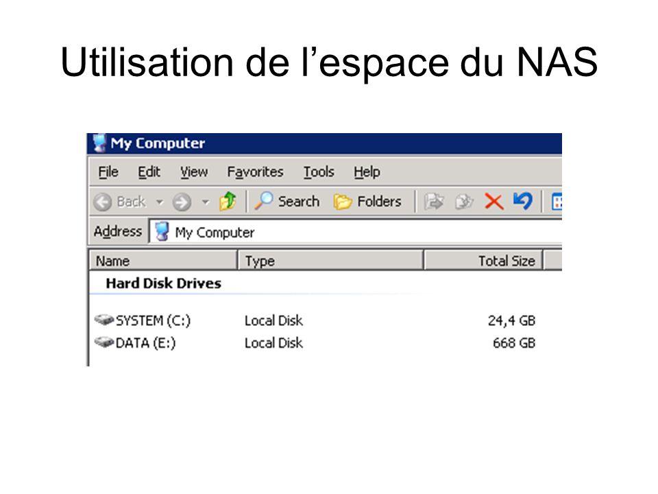 Utilisation de l'espace du NAS