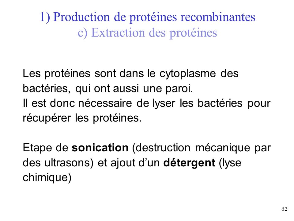 1) Production de protéines recombinantes c) Extraction des protéines