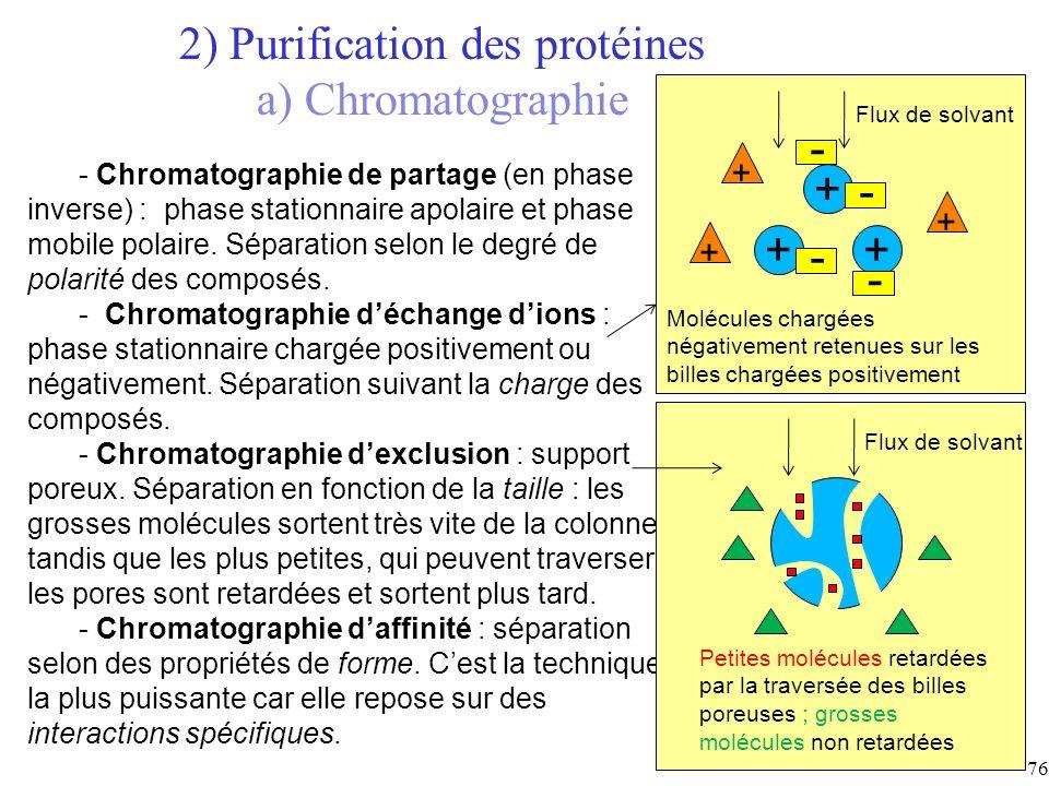 2) Purification des protéines a) Chromatographie