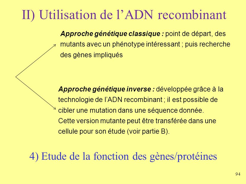 II) Utilisation de l'ADN recombinant