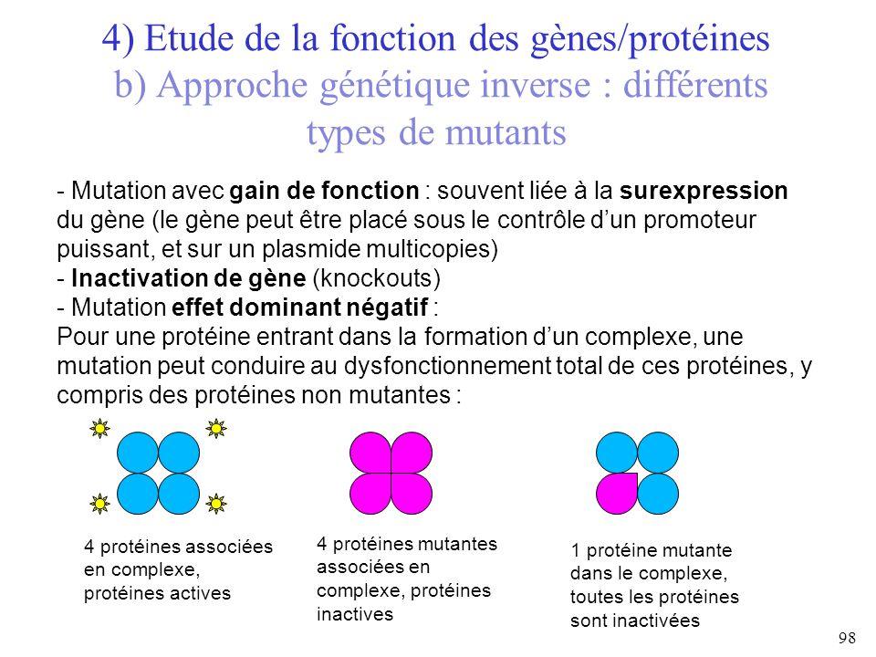 4) Etude de la fonction des gènes/protéines b) Approche génétique inverse : différents types de mutants