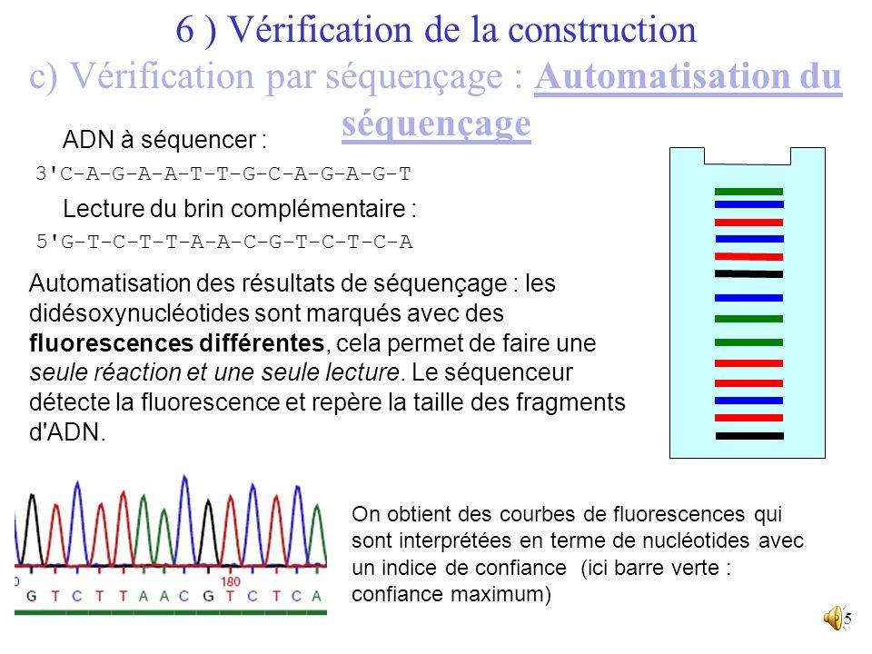 6 ) Vérification de la construction c) Vérification par séquençage : Automatisation du séquençage