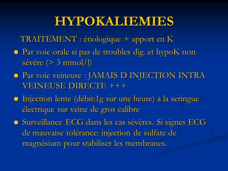 HYPOKALIEMIES TRAITEMENT : étiologique + apport en K