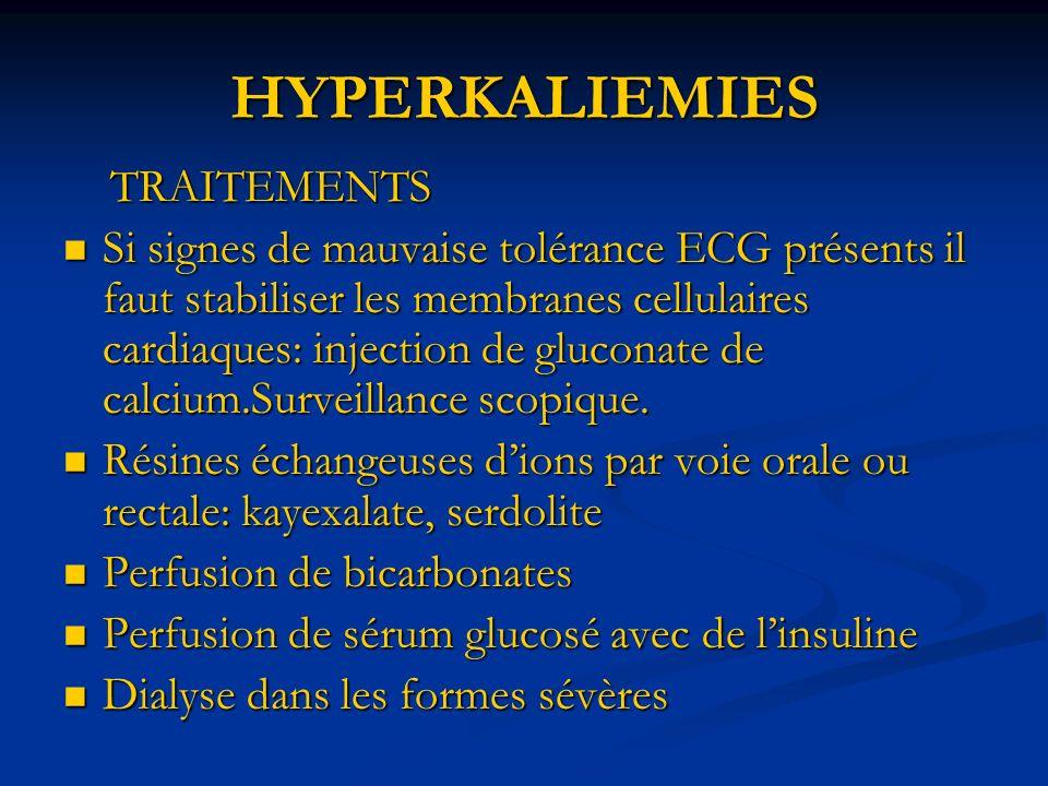 HYPERKALIEMIES TRAITEMENTS
