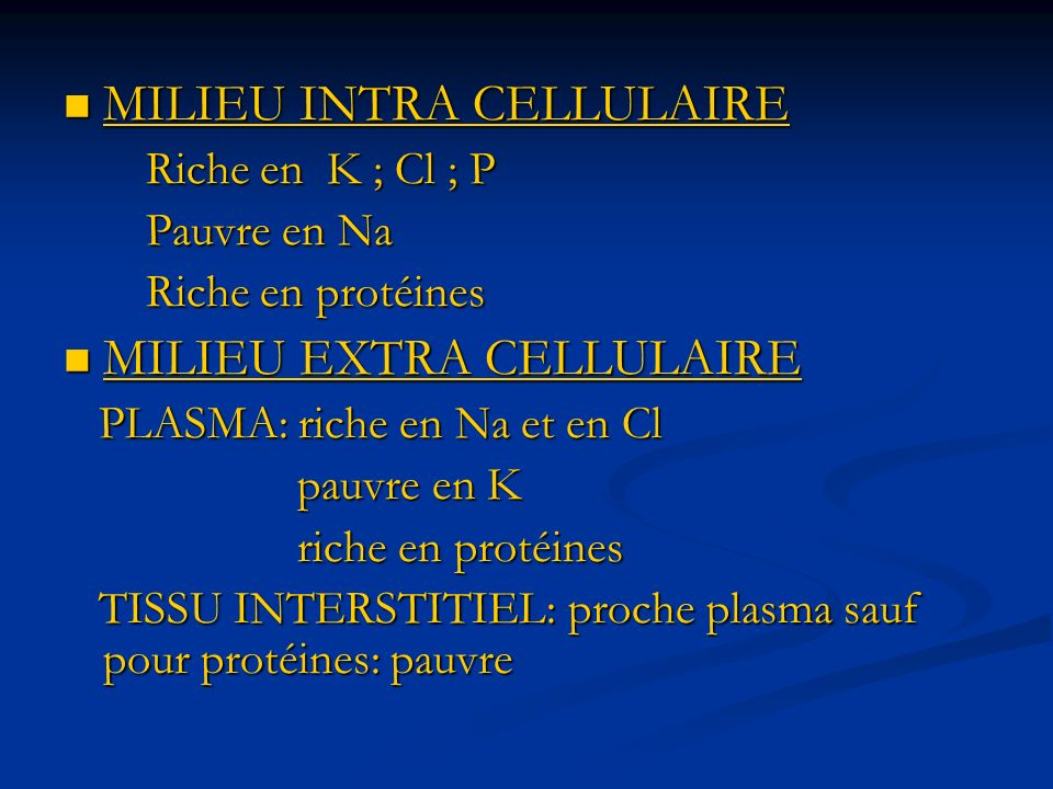 MILIEU INTRA CELLULAIRE