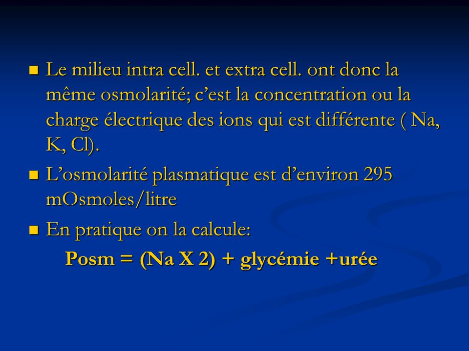 Le milieu intra cell. et extra cell