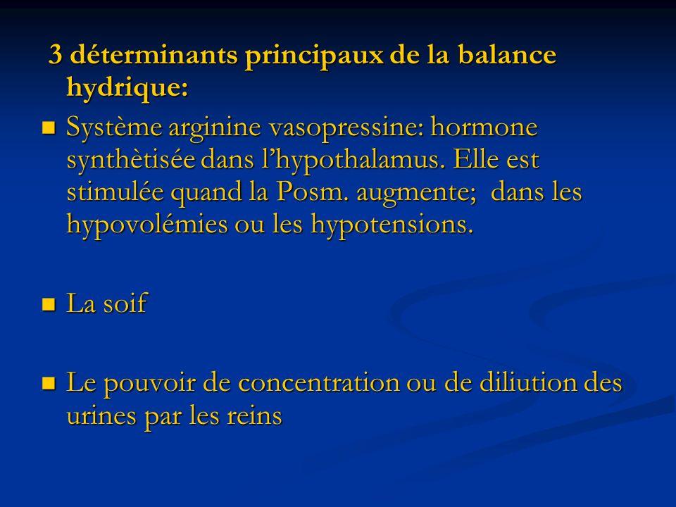 3 déterminants principaux de la balance hydrique:
