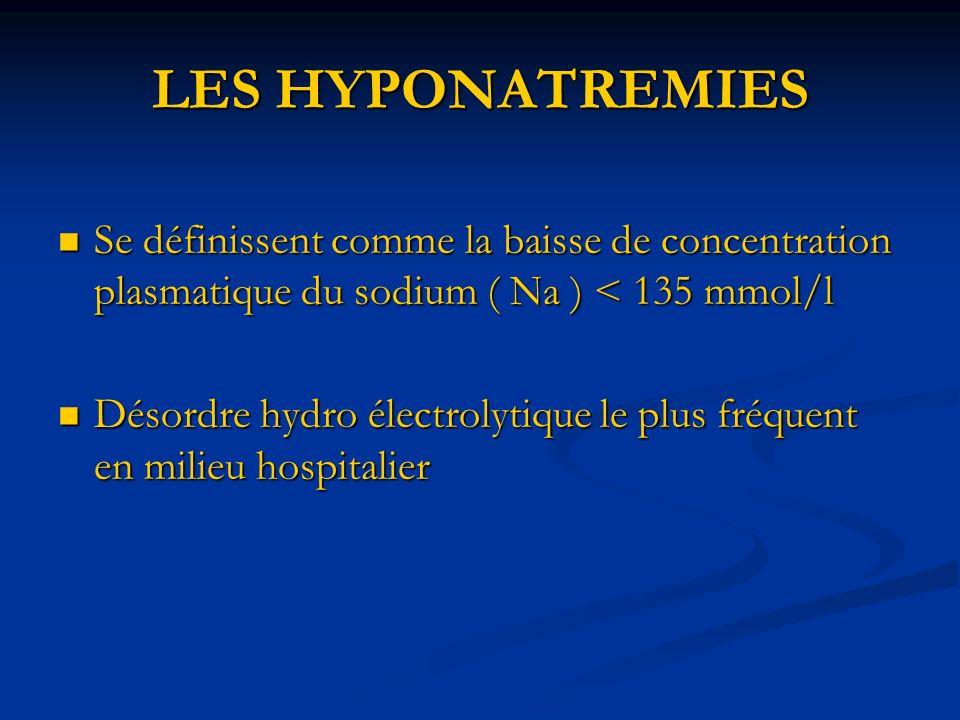 LES HYPONATREMIES Se définissent comme la baisse de concentration plasmatique du sodium ( Na ) < 135 mmol/l.