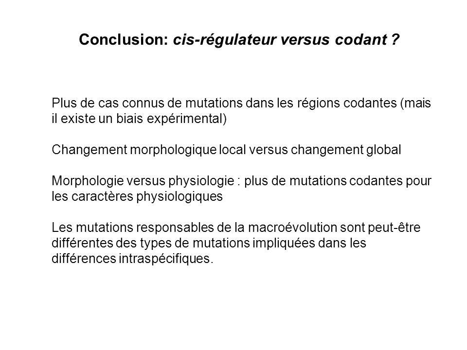 Conclusion: cis-régulateur versus codant