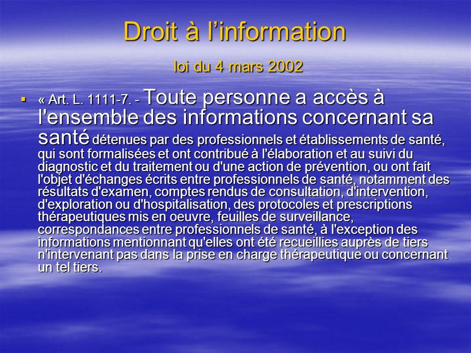 Droit à l'information loi du 4 mars 2002