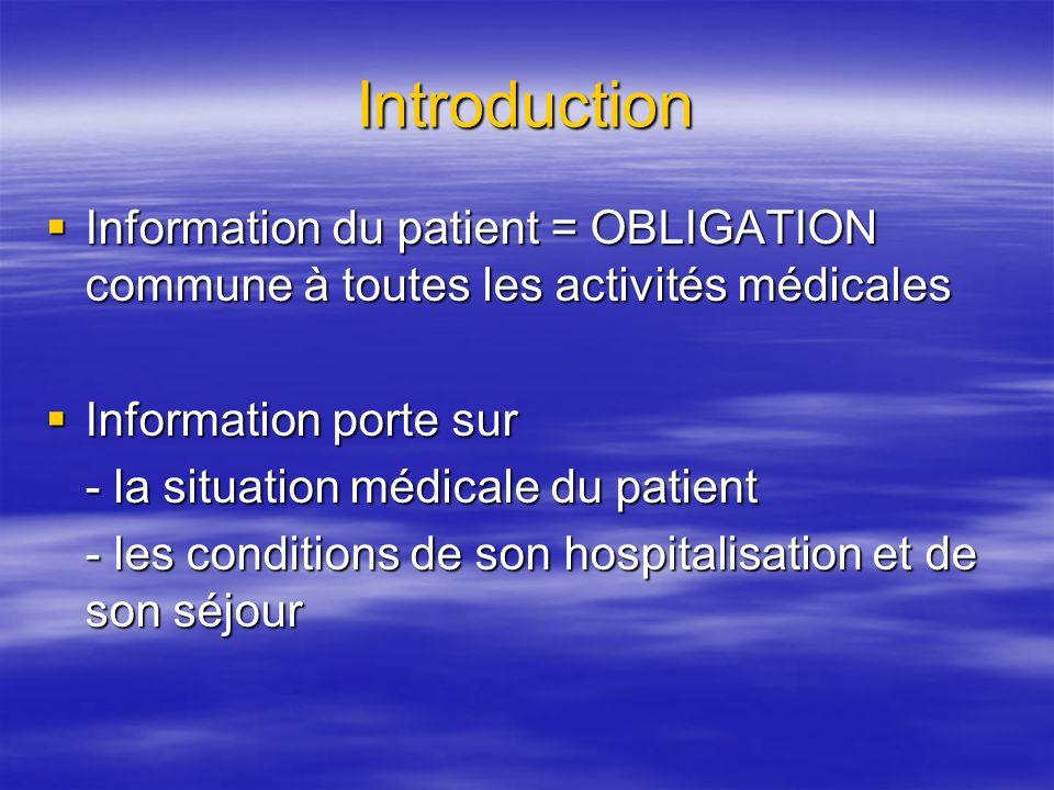 Introduction Information du patient = OBLIGATION commune à toutes les activités médicales. Information porte sur.