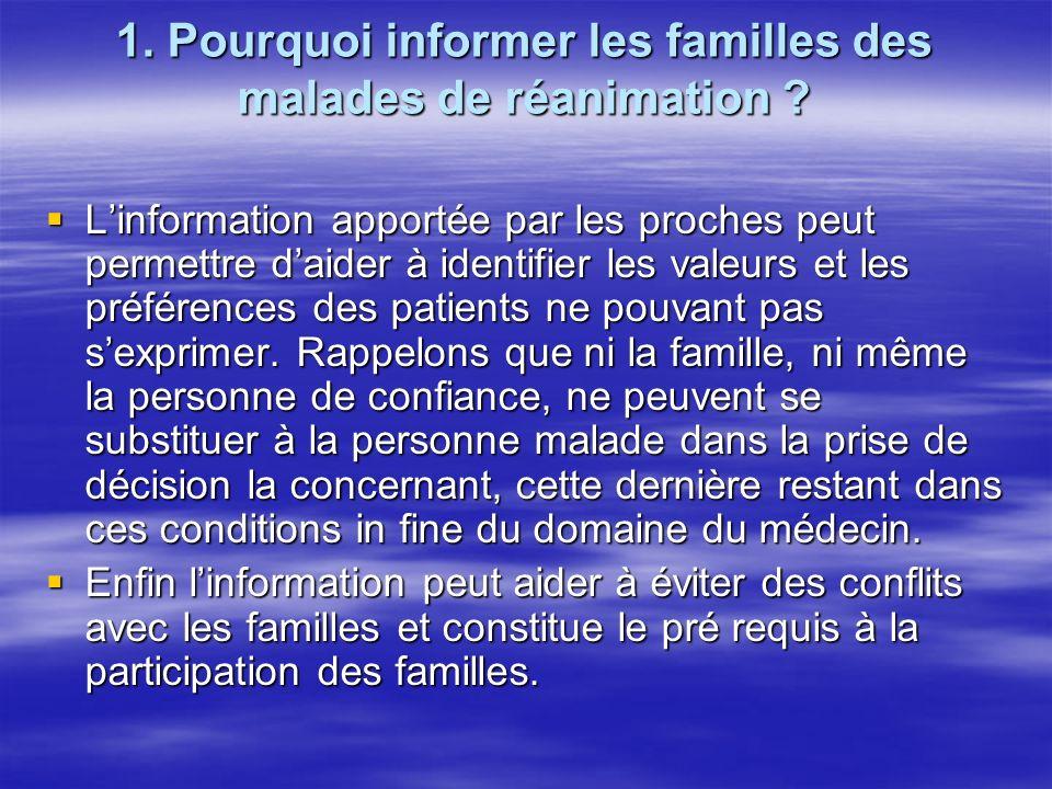1. Pourquoi informer les familles des malades de réanimation