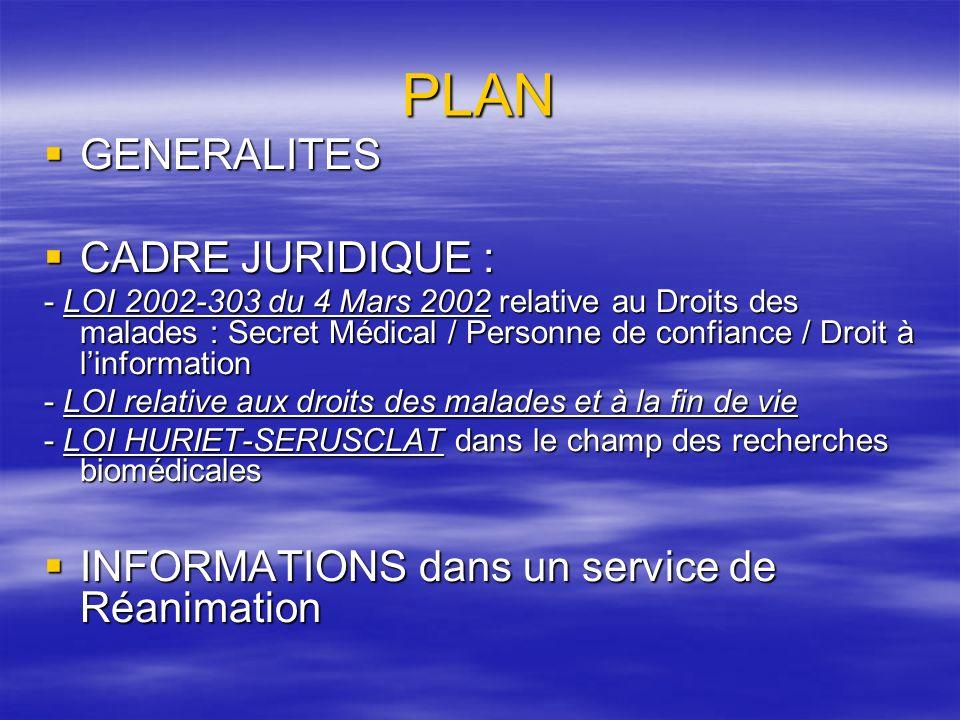PLAN GENERALITES CADRE JURIDIQUE :