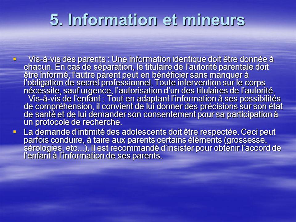 5. Information et mineurs