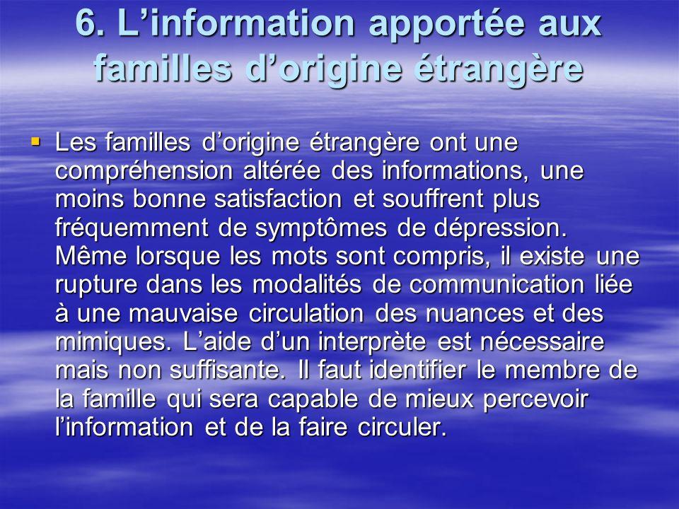 6. L'information apportée aux familles d'origine étrangère