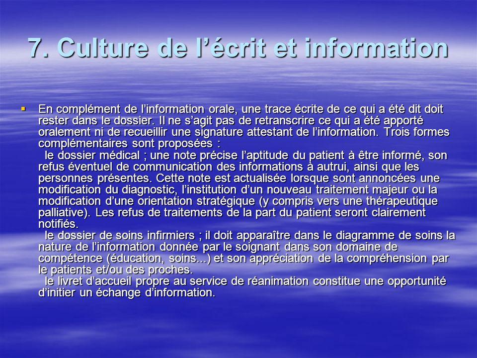 7. Culture de l'écrit et information