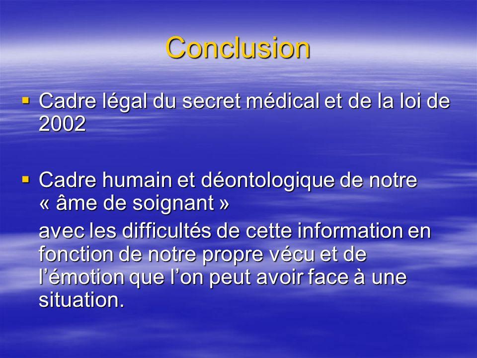 Conclusion Cadre légal du secret médical et de la loi de 2002