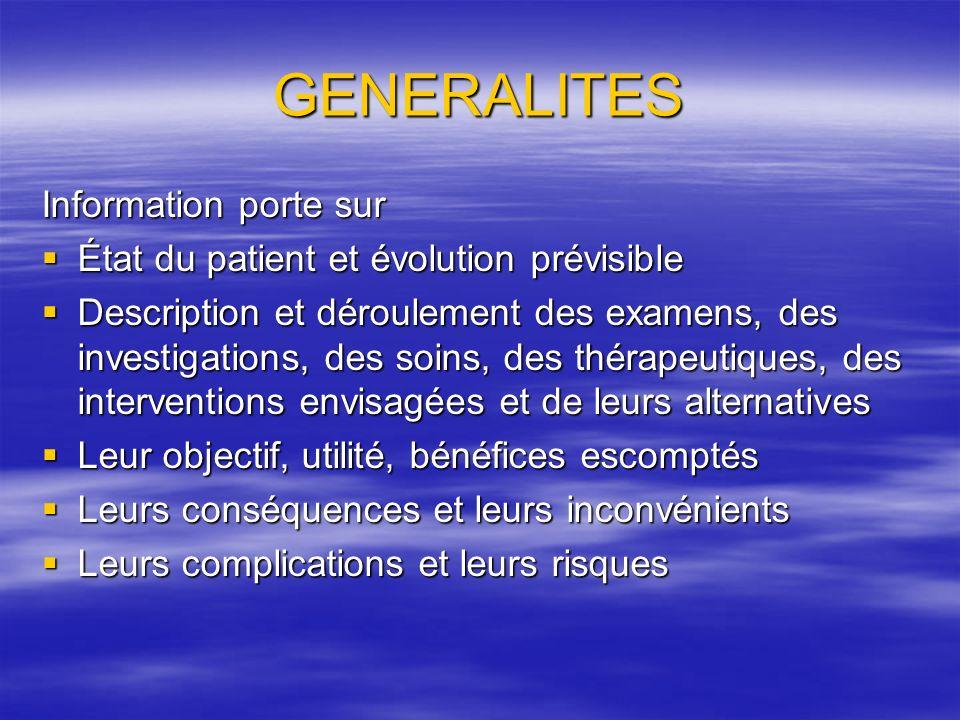 GENERALITES Information porte sur