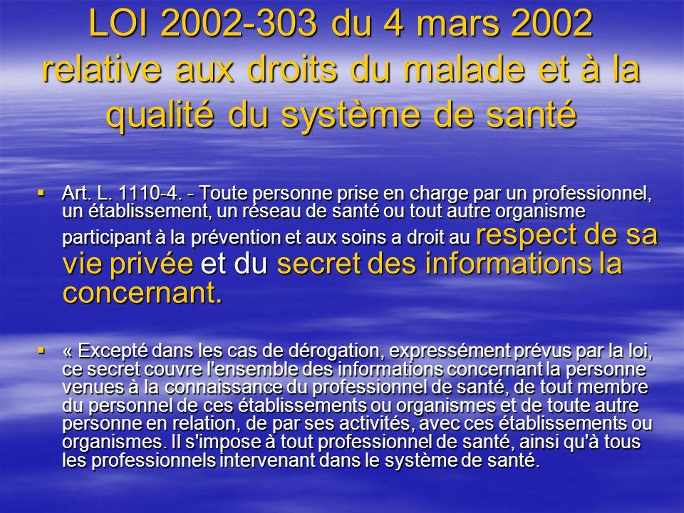 LOI 2002-303 du 4 mars 2002 relative aux droits du malade et à la qualité du système de santé
