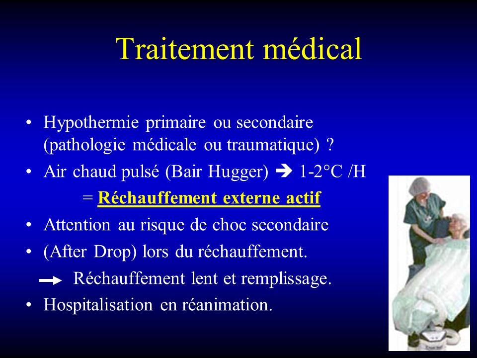 Traitement médical Hypothermie primaire ou secondaire (pathologie médicale ou traumatique) Air chaud pulsé (Bair Hugger)  1-2°C /H.