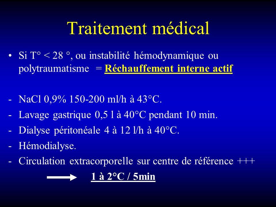 Traitement médical Si T° < 28 °, ou instabilité hémodynamique ou polytraumatisme = Réchauffement interne actif.