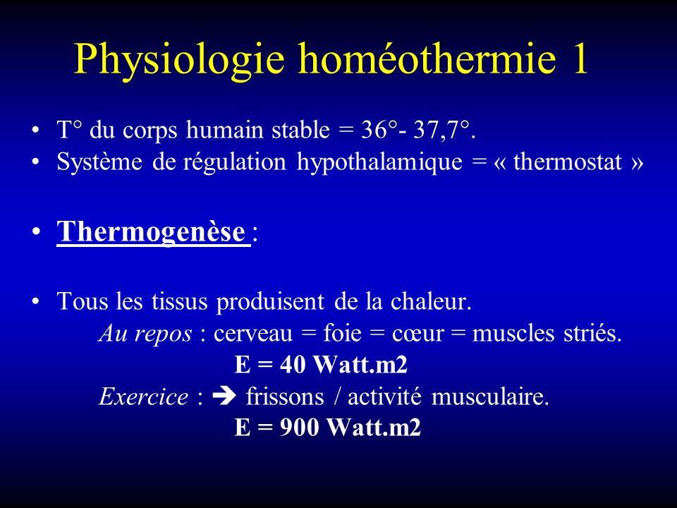 Physiologie homéothermie 1