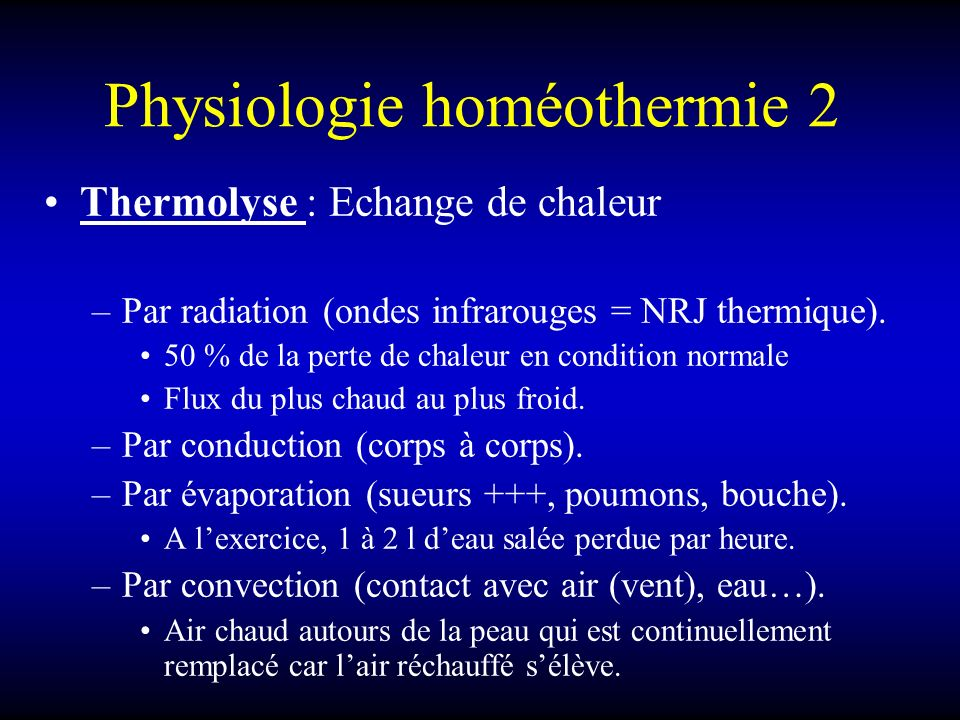 Physiologie homéothermie 2