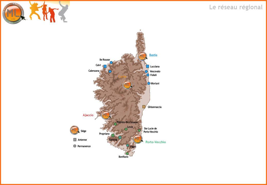 Le réseau régional Corte Ajaccio Porto-Vecchio