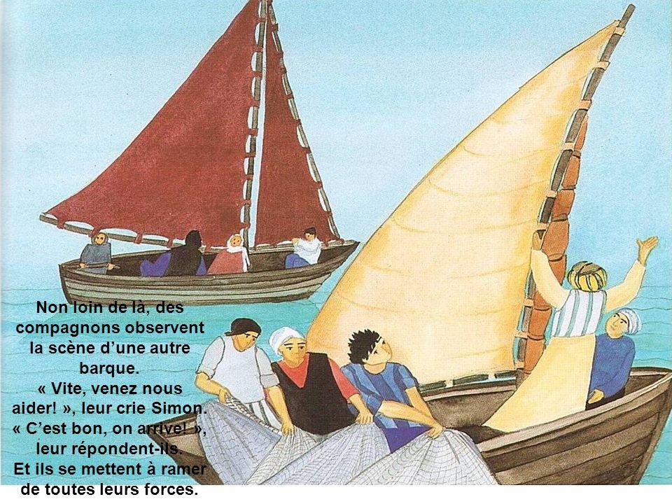 Non loin de là, des compagnons observent la scène d'une autre barque.